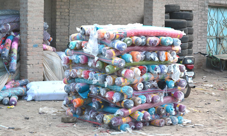 Goods piled up at Karkhano market