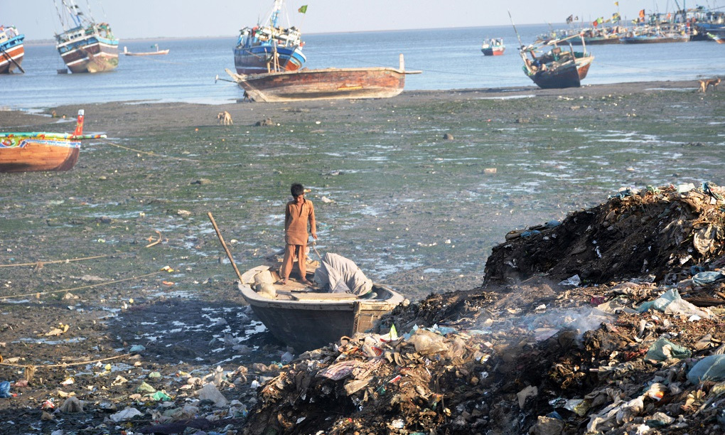 With around 22 million people, Karachi produces up to 12,000 tons of solid waste every day, almost all of it ends up in the sea. — Photo by Amar Guriro