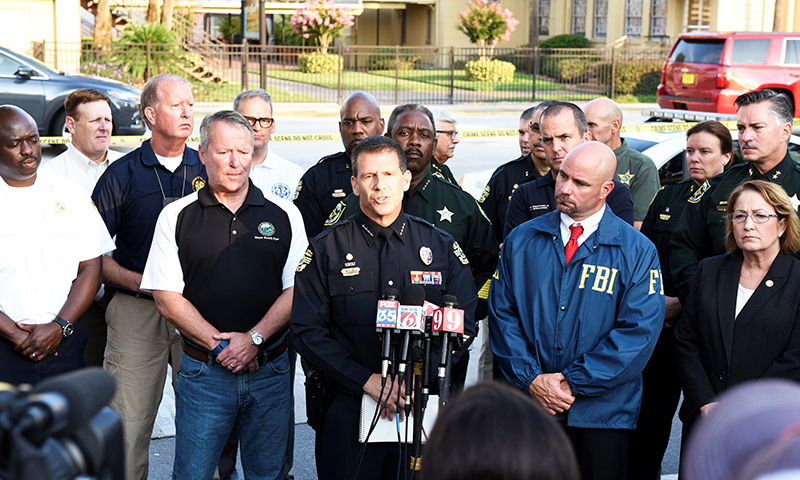 Orlando Police Chief John Mina and other city officials answer the media's questions about the Pulse nightclub shooting in Orlando. -Reuters