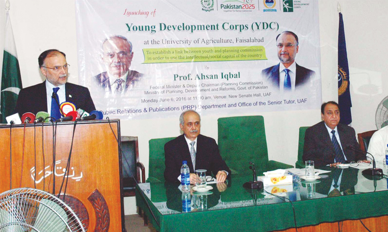 Federal Planning Minister Professor Ahsan Iqbal addressing  a seminar on 'Launching of Young Development Corps' at the University of Agriculture Faisalabad last week.