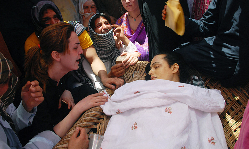 In this Wednesday, May 25, 2016 photo, transgenders mourn the death of Alisha in Peshawar. — AP