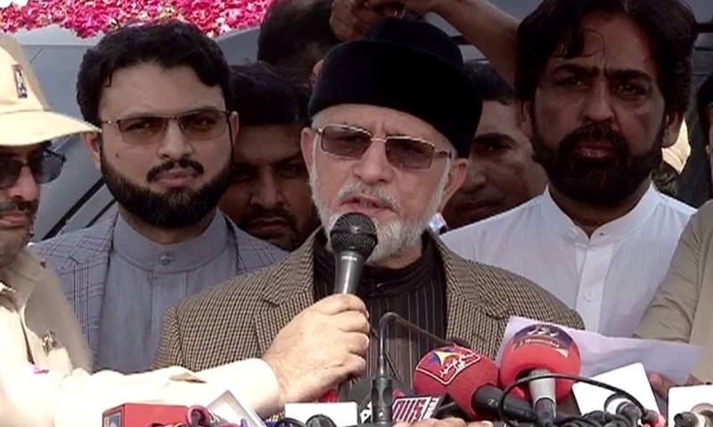 Dr Qadri speaks to media at Lahore airport.—DawnNews