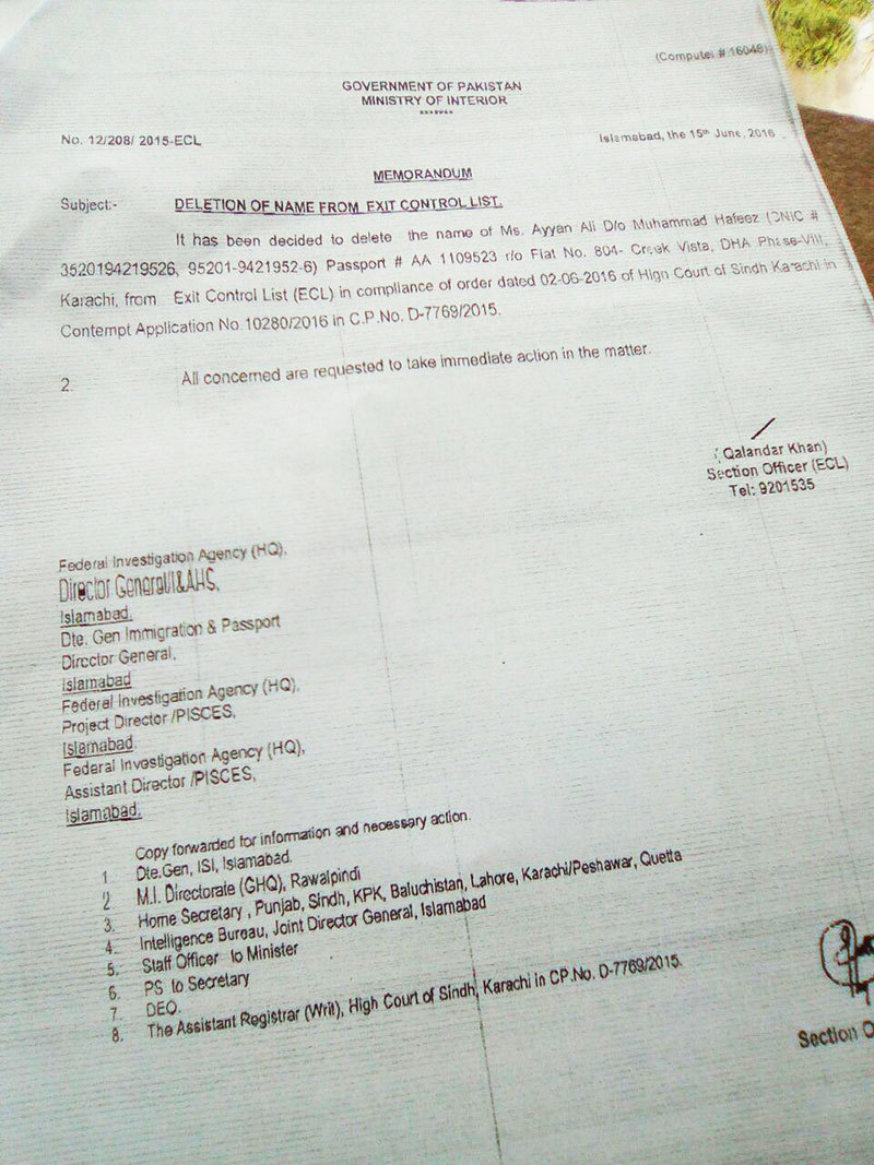 Copy of notification issued by interior ministry