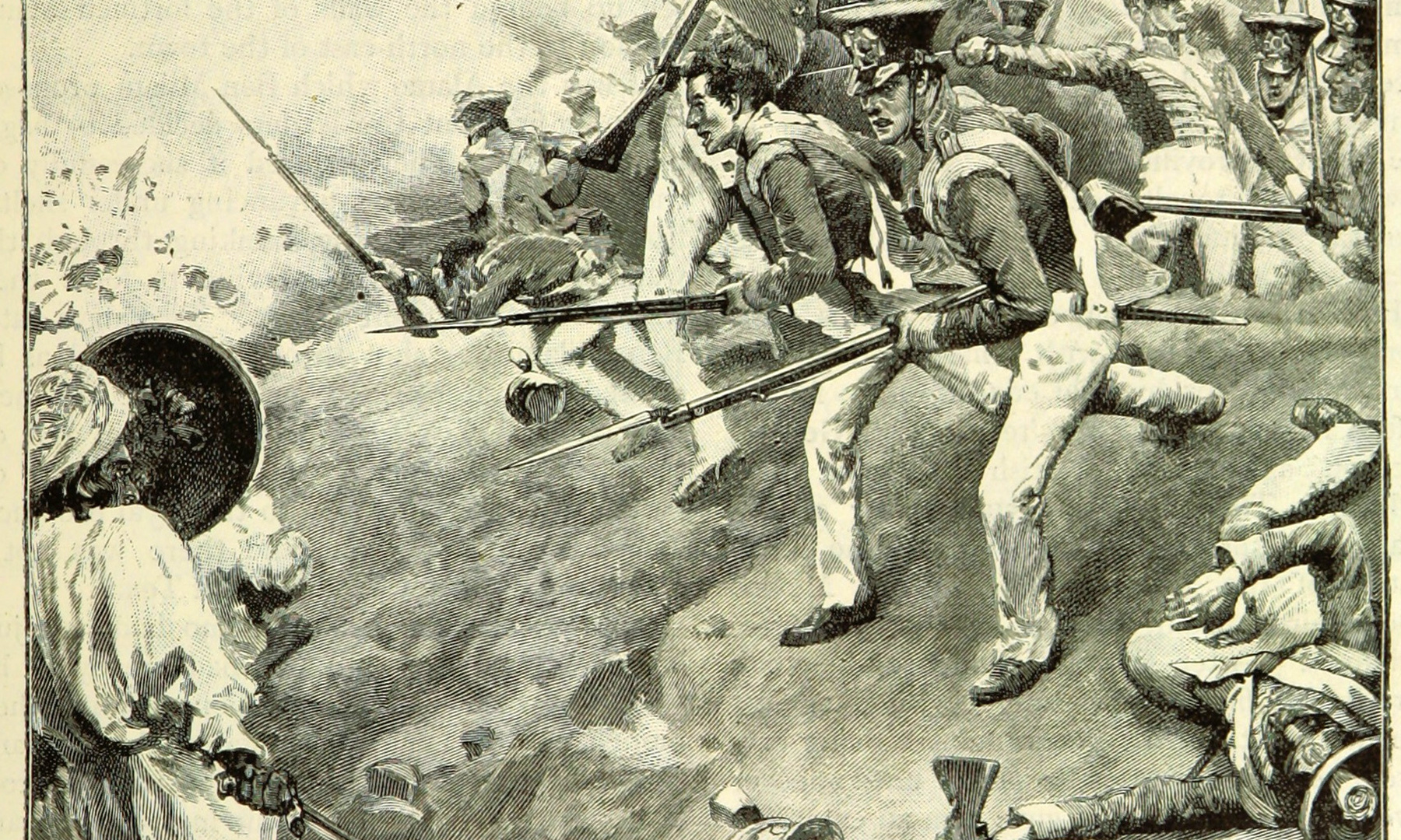 دوبے والی جنگ میں انگریز سپاہی بلوچوں پر حملہ کرتے ہوئے۔ السٹریٹڈ بیٹلز آف نائنٹینتھ سینچری، صفحہ 549۔