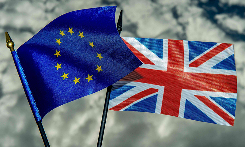 The flags of the European Union and the United Kingdom. — AFP/File