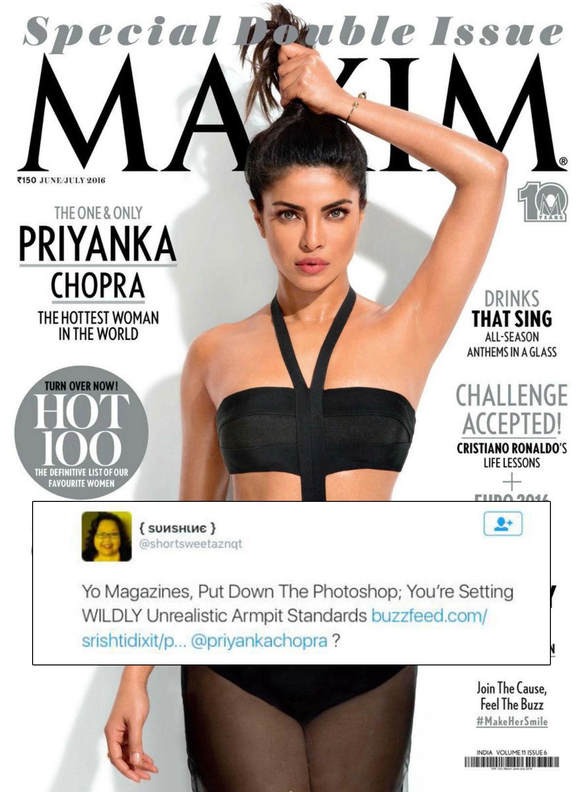 Priyanka's photoshopped armpits creating a furor among fans