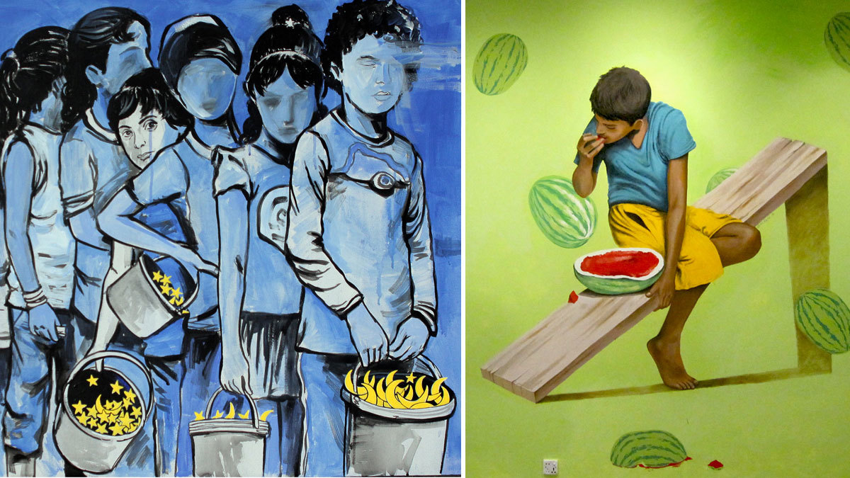 With murals of dreaming street children, S.M. Raza hopes to better their lives