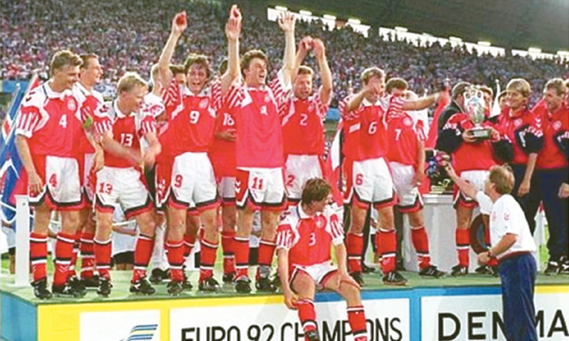 The triumphant Denmark squad of 1992