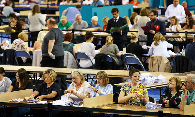 Ballots are counted at the Glasgow count centre at the Emirates Arena, Glasgow, Scotland, on June 23, 2016.— AFP