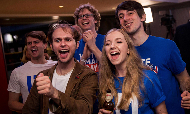 Supporters of the 'Stronger In' Campaign react as results of the EU referendum are announced at a results party at the Royal Festival Hall in London June 24, 2016. — AFP