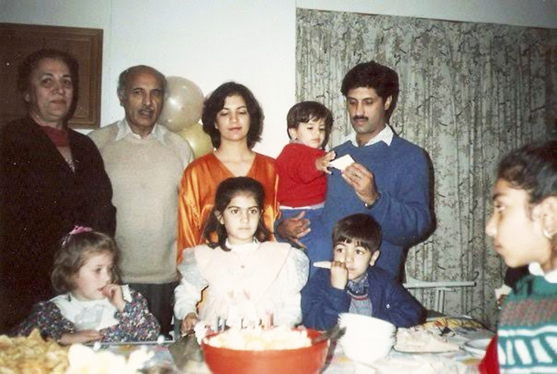 My father and the rest of the family at a birthday party.