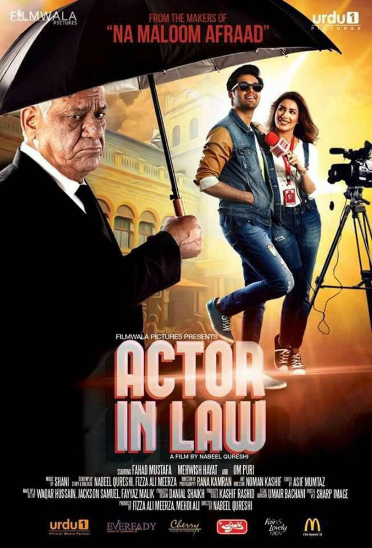 Om Puri, Fahad Mustafa and Mehwish Hayat in the first look of Actor In Law