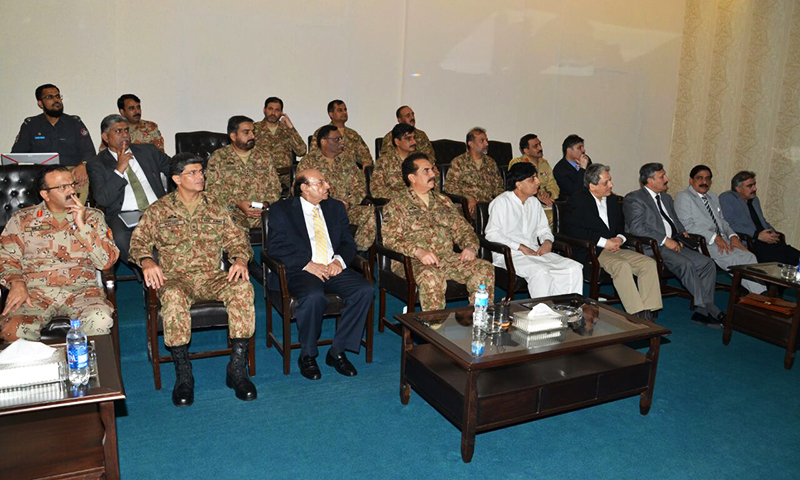 COAS Gen Raheel Sharif, Interior Minister Nisar Ali Khan, Sindh CM Qaim Ali Shah and other officials attend a briefing at the corps headquarters in Karachi on Sunday.