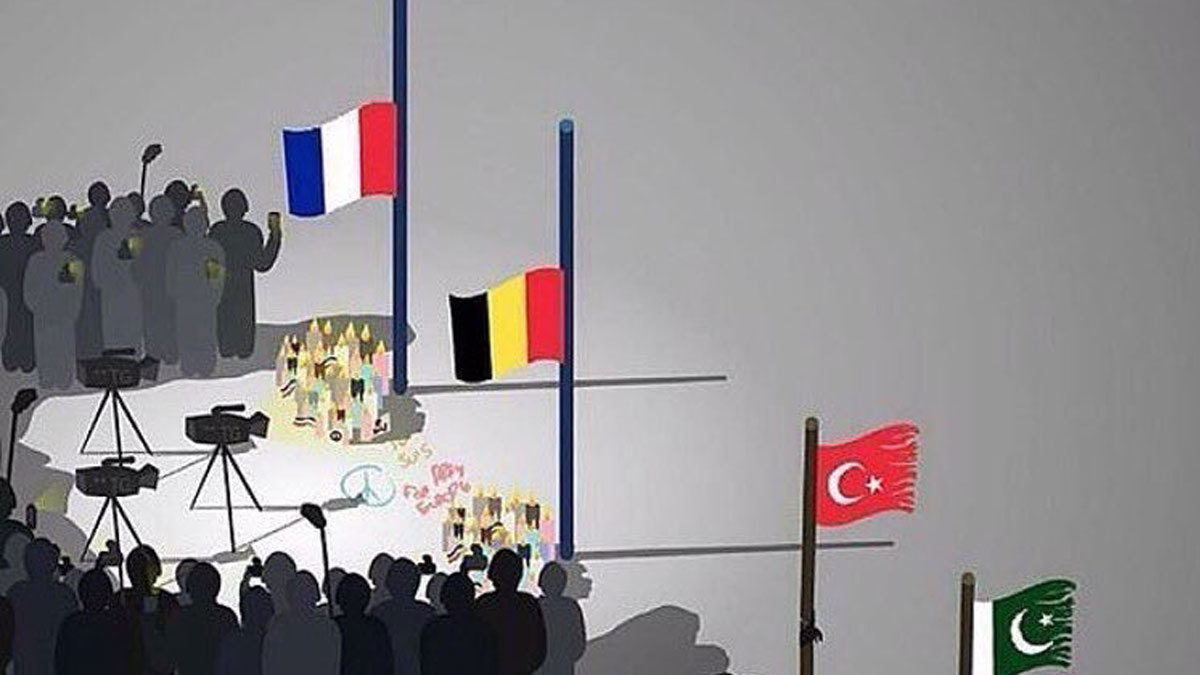 With this image, Banksy highlights the sad truth about terrorism in Pakistan and Turkey