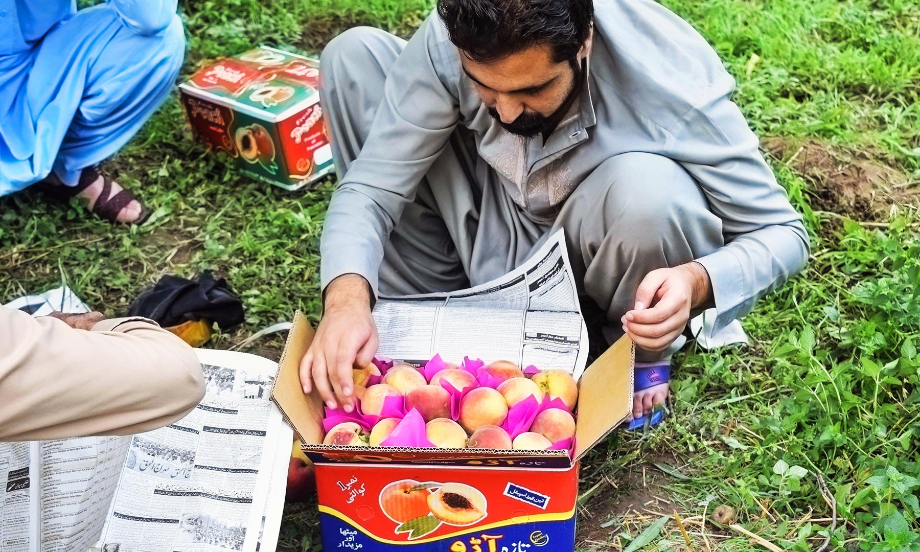تیاری کے بعد چھوٹی چھوٹی رنگ برنگی جھنڈیوں سے کریٹ کو سجایا جاتا ہے— تصویر امجد علی سحاب