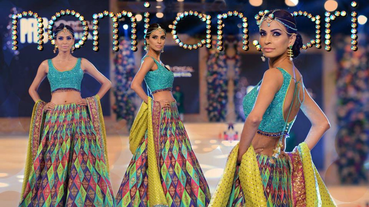 An embroidered aqua choli from Nomi's Oudh collection at LPBW 2015