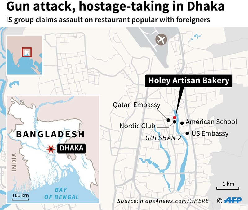 Dhaka's diplomatic zone on map.— AFP