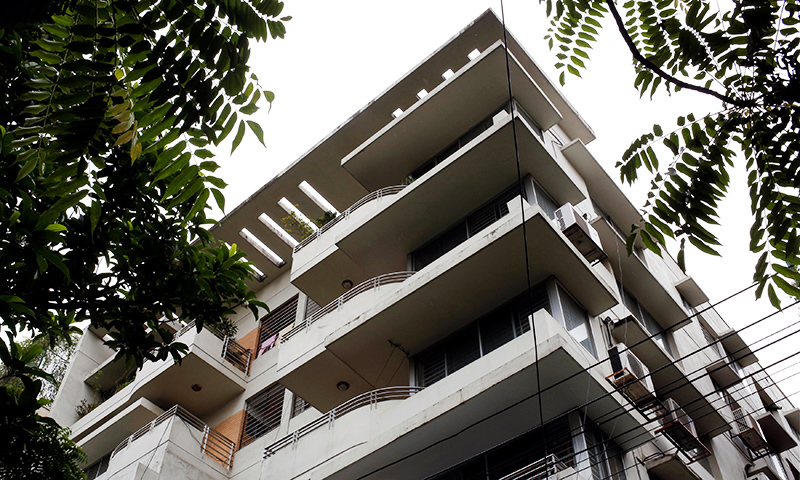 The residential apartment, where Meer Saameh Mubasheer used to stay with his family, is pictured from the outside, in Dhaka. — Reuters