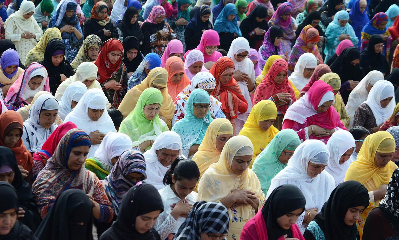Kashmiri women offer Eidul Fitr prayers in Srinagar, India-held Kashmir. — Faisal Khan