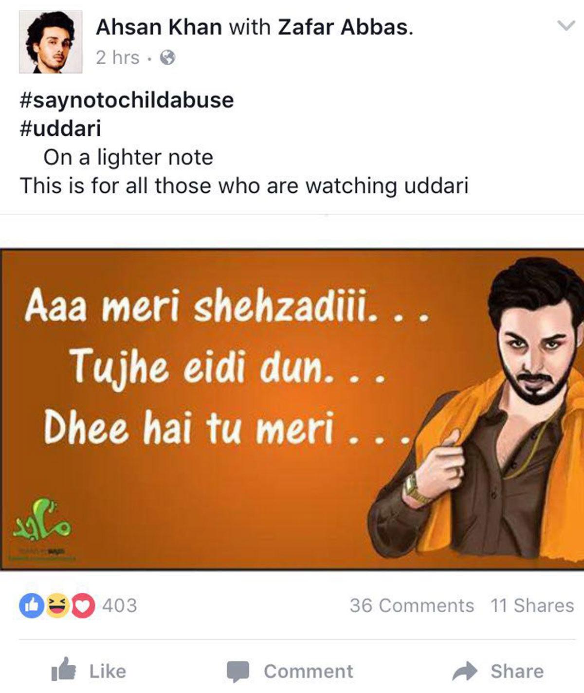 Ahsan Khan's joke did not go down well with Udaari fans.