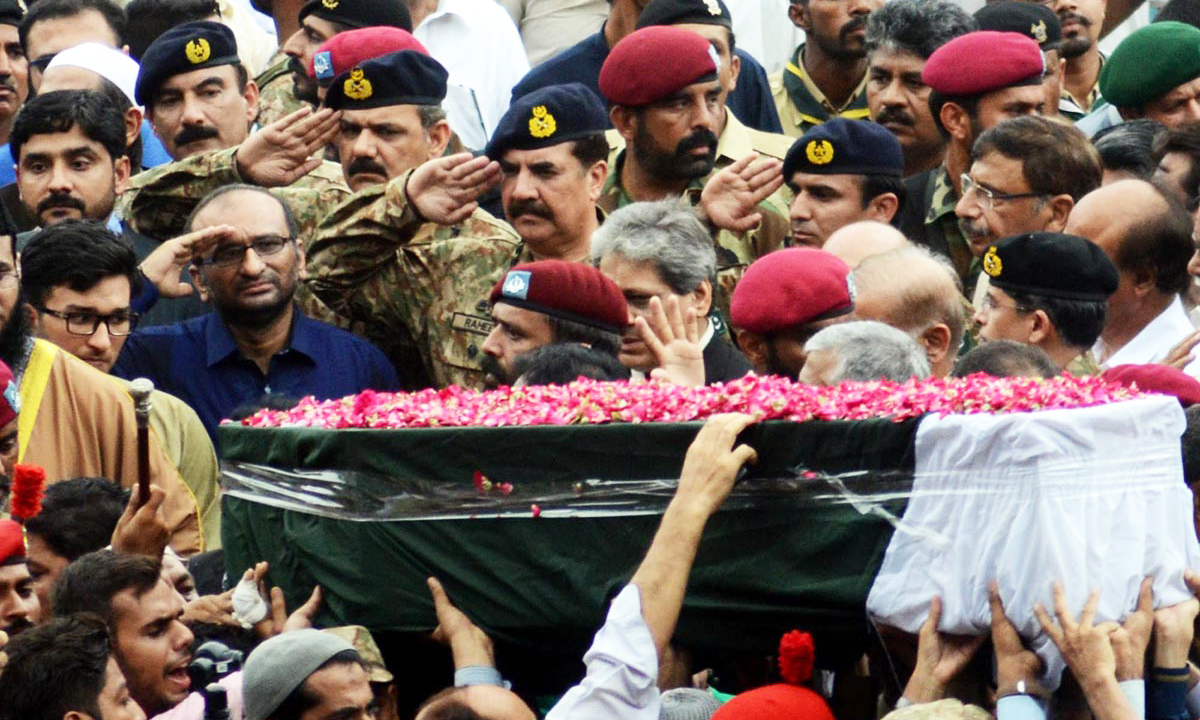 Abdul Sattar Edhi laid to rest after state funeral at Karachi National Stadium