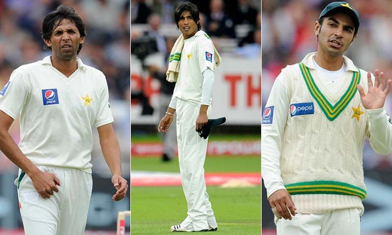 Mohammad Asif, Mohammad Amir and then-captain Salman Butt, the three players involved in the scandal.— AP/Reuters
