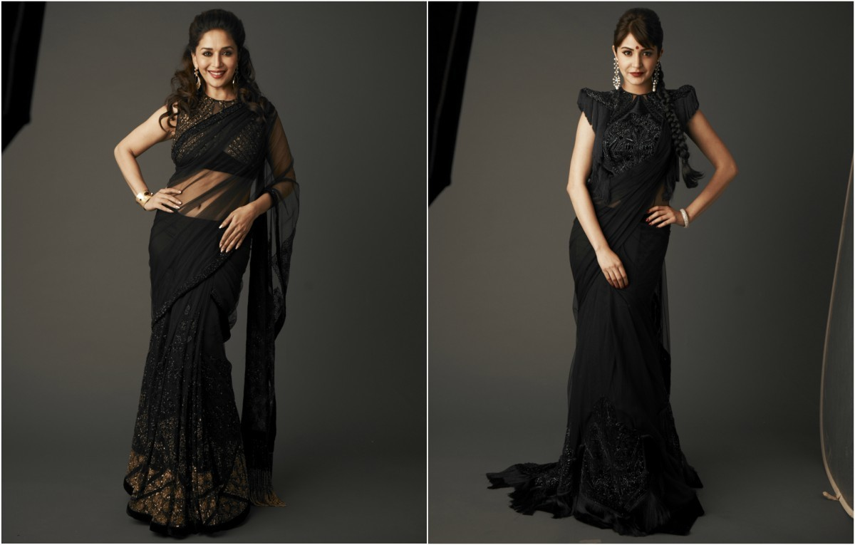 Madhuri Dixit and Anushka Sharma smouldering in all-black Diva'ni designs