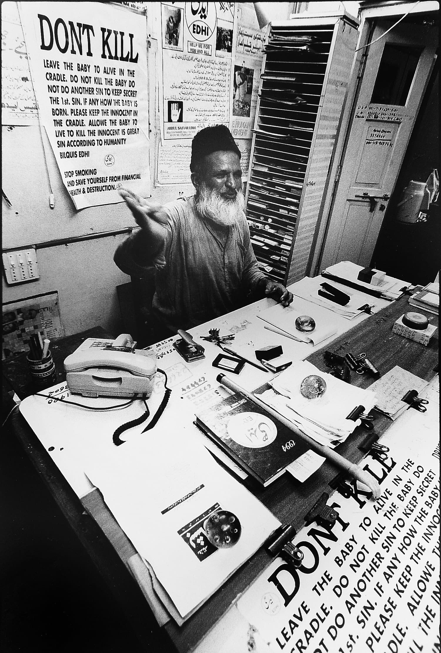 Abdul Sattar Edhi at his office in Mithadar. —Photo by Arif Mahmood/White Star