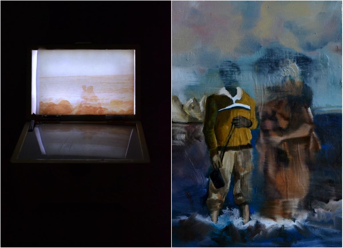 11 02 1992, Naira Mushtaq, Found Music boxled and digital print, 9 x 15 x 10 cm   15 02 1986, Naira Mushtaq, Gel transfer and paint on board, 43 x 29 cm