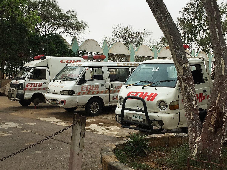 Edhi ambulances.