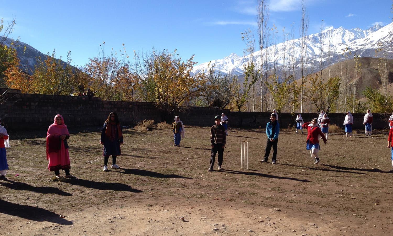 A community cricket match.