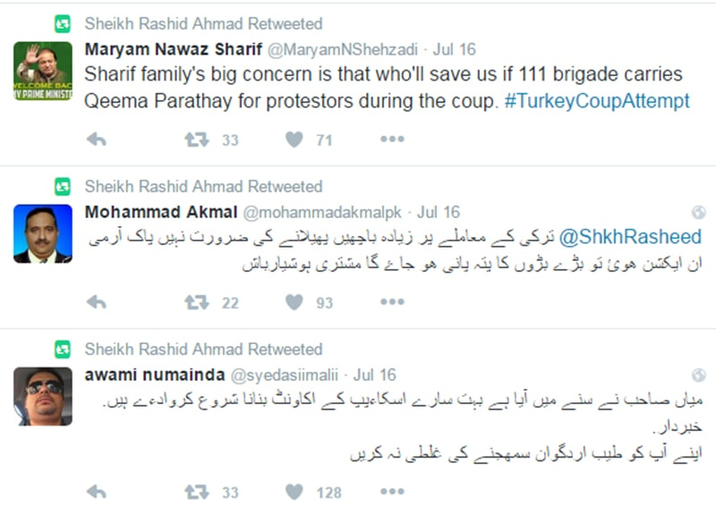Some of the tweets Sheikh Rasheed retweeted