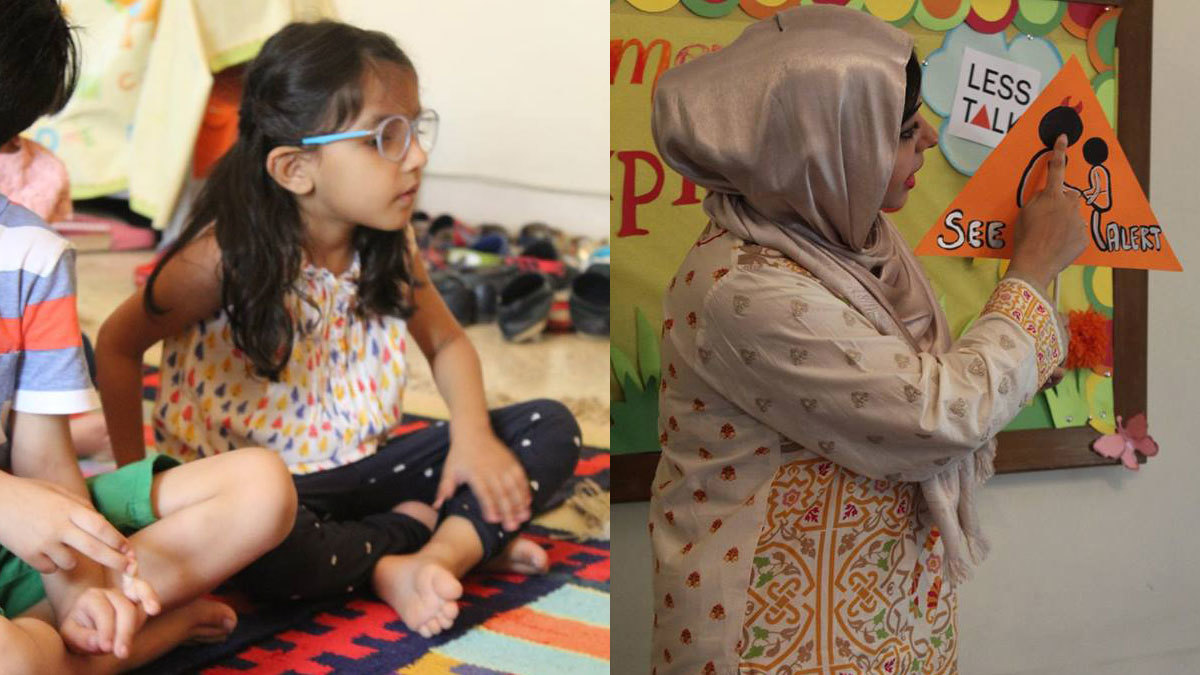 Left: Children pointing out their private parts as part of the seminar. Right: Maham teaching children about the 'see' alert. Photo: Facebook