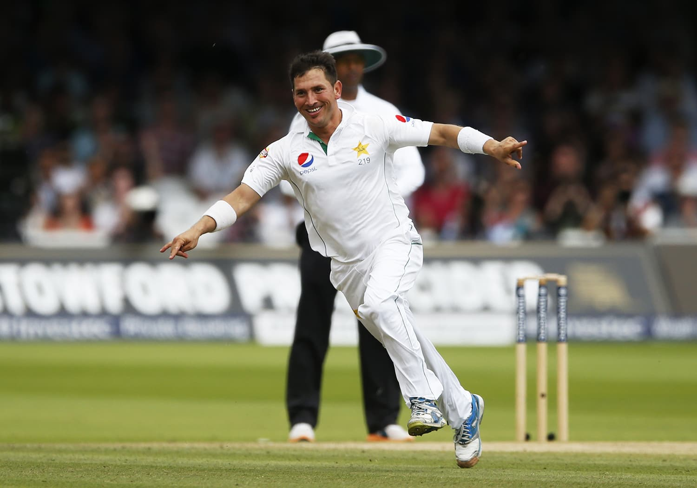 Yasir Shah celebrates taking a wicket. — Reuters
