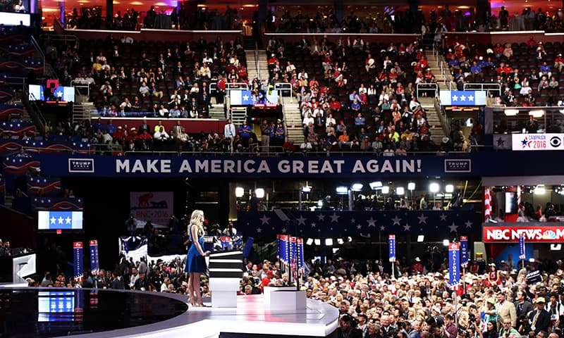 Daughter of Donald Trump, Tiffany Trump, delivers a speech.— AFP