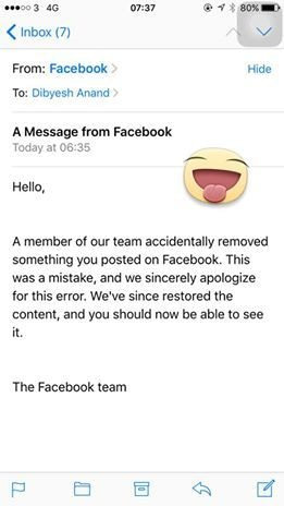 A screenshot of Facebook's apology for removing Anand's post. ─Courtesy Dibyesh Anand