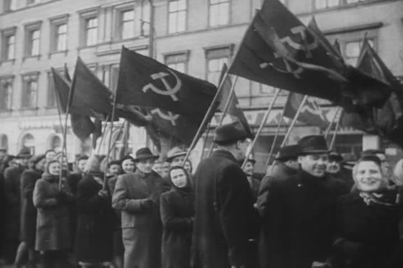 Supporters on the streets of Prague to celebrate the 1948 communist coup in Czechoslovakia.