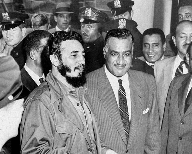 Egyptian president, Gamal Nasser (who took power in a military coup in 1954), with communist Cuban leader and revolutionary, Fidel Castro.