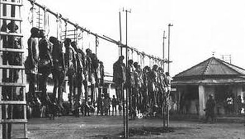 Opponents of the 1977 leftist coup in Ethiopia were lynched and left to hang in the streets.