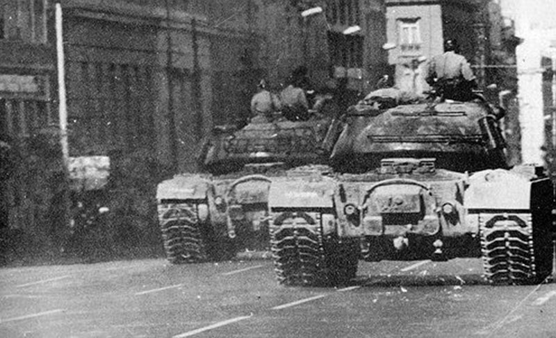 Tanks petrol the streets of Athens during the 1967 right-wing military coup in Greece.