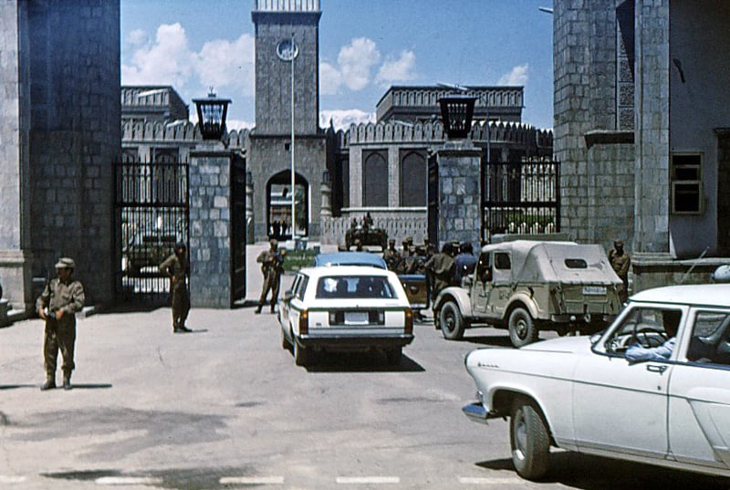 Soldiers take over the presidential palace in Kabul during the 1978 communist coup in Afghanistan.