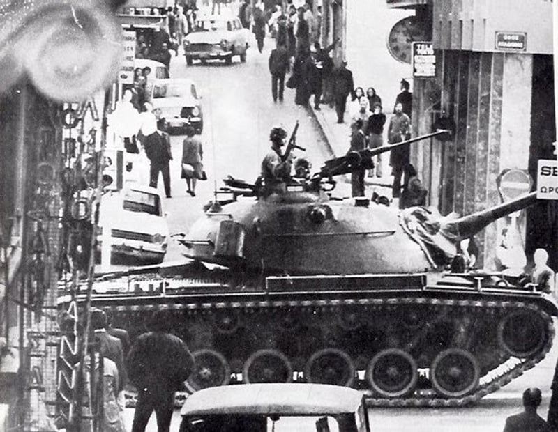 Troops take over Athens during the 1967 coup.