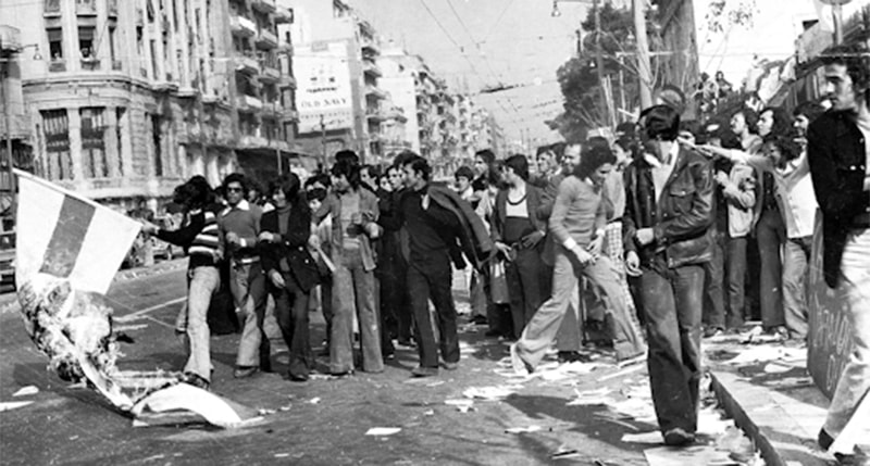 Students in Athens protesting against the coup in late 1973.