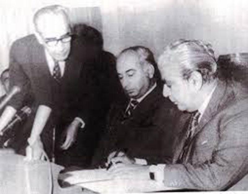 Yahya handing over power to Bhutto.