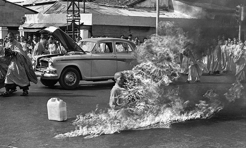 1963: A Buddhist monk sets himself on fire during a protest against the US-backed dictatorship in South Vietnam. In 1964, the US facilitated the overthrow of the regime through another military coup.