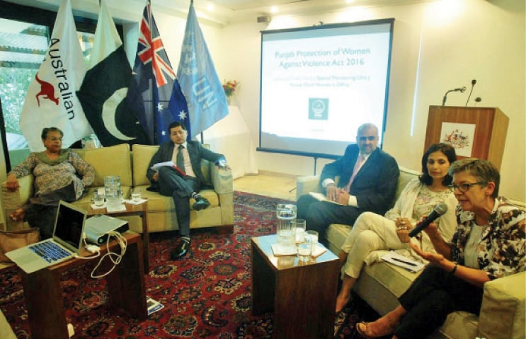 Australian High Commissioner speaks at a debate on Violence Against Women in Islamabad on Thursday. — Online