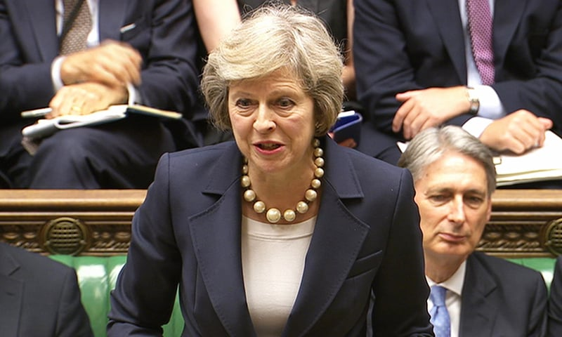 In this grab taken from video British PM Theresa May speaks during her first session of Prime Minister's Questions at the House of Commons, in London, July 20.— AP