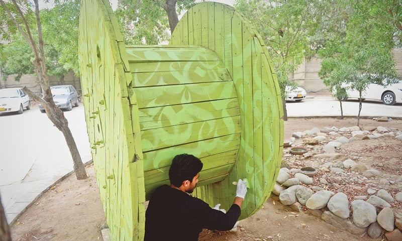 The prototype of Karachi Biennale Trust's public project with calligraphic work at the OPP headquarters.—White Star