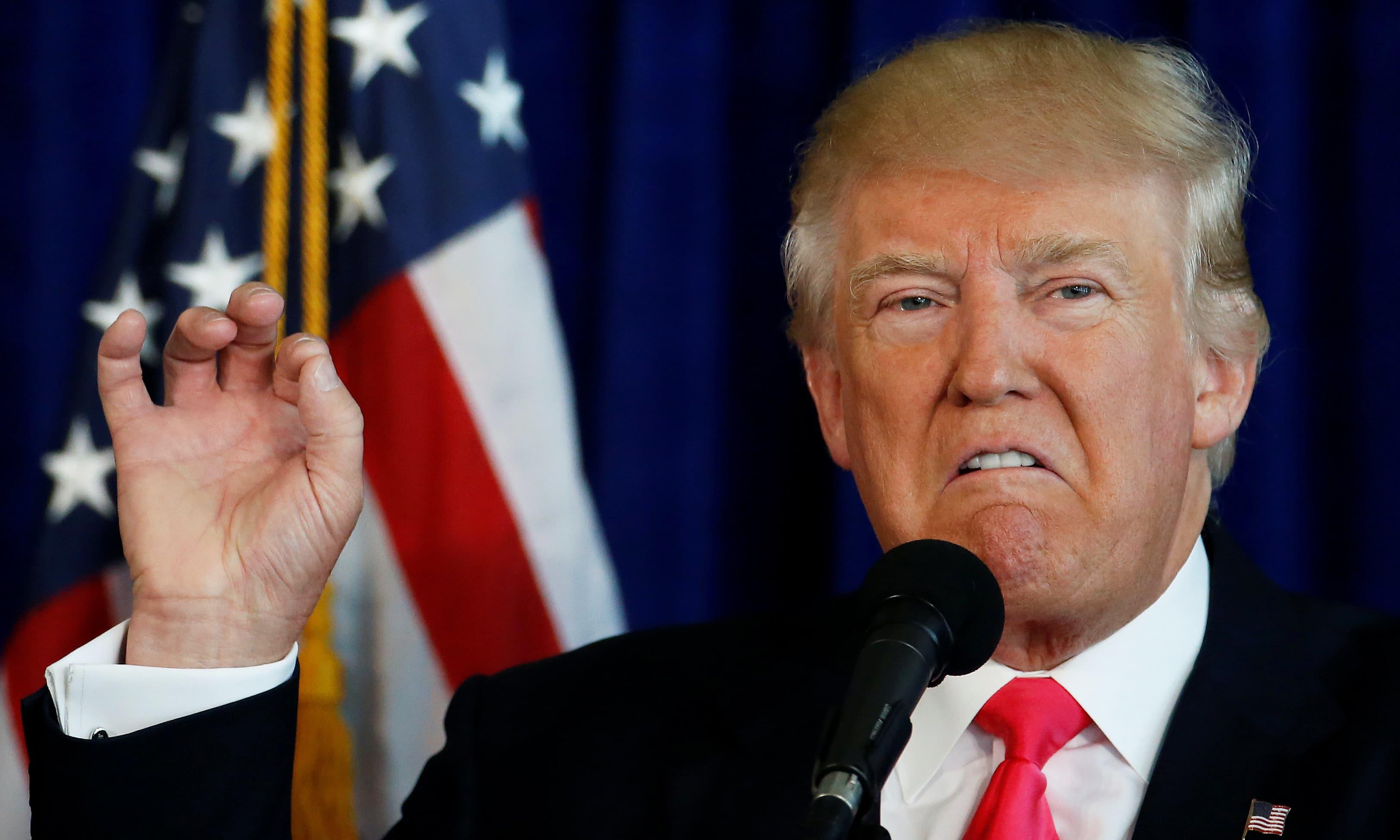 Republican presidential nominee Donald Trump speaks at a campaign event at Trump Doral golf course in Miami, Florida. —Reuters