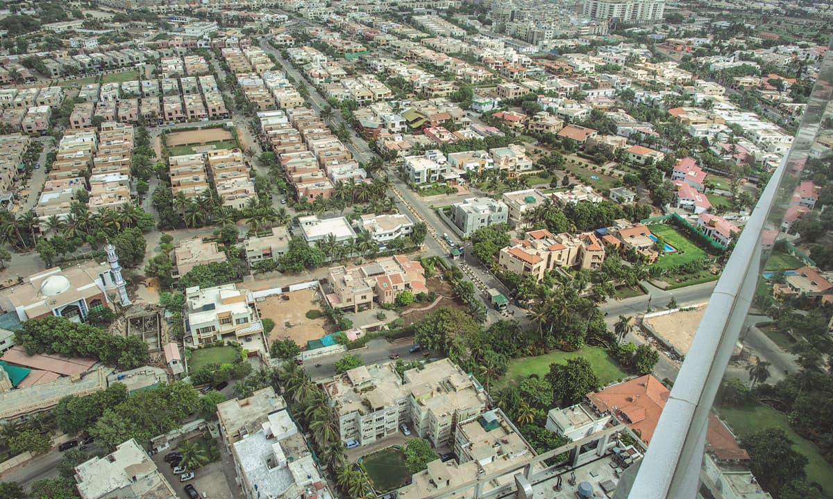 An aerial view of the Navy Housing Scheme in Karachi| Mohammad Ali, White Star